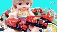 玩具益趣园 2016 芭比娃娃咪露和面包超人的消防车合金模型 80
