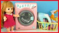 全自动洗衣机玩具,小猪佩奇艾莎公主娃娃洗衣服。芭比娃娃爱探险的朵拉迪士尼过家家亲子游戏视频