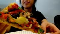 吃播之无芝士披萨|和同事们一起吃午饭 #49