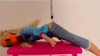 芭比娃娃被施了魔法生病了 芭比医生帮芭比娃娃打针  芭比娃娃水晶冰冻粘土打针玩具 芭比娃娃扮家家!