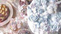 【食用系列】用皇室糖霜装饰超美童话风紫罗兰三色堇蛋糕