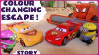 闪电麦昆和汽车总动员板牙的神奇变色车 小黄人试玩神奇变色水#车车王国#