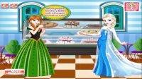 239做冰淇淋艾莎和安娜的甜品艾莎冰淇淋制作亲子小游戏