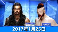 【中文解说】WWE2017年1月25日罗曼雷恩斯vs希莫斯