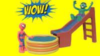 巨大的水滑梯绿巨人蜘蛛侠乐趣超级英雄孩子