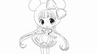 [小林画的]可爱的二次元Q版卡通女生卖萌卡通动漫线稿简笔画|可爱的小红帽小公主苏菲亚芭比