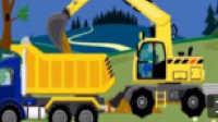 挖掘机视频表演大全 挖土机玩具视频 运输水泥大卡车 汽车总动员 赛车总动员动画片中文