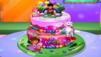 爱探险的朵拉 朵拉设计制作蛋糕 送给好朋友过生日.mp4