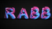 彩兔_C4D拉丝艺术字创作/文字字体设计制作