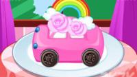 芭比宝贝彩虹城堡蛋糕 制作小汽车蛋糕