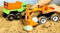 挖土机动画片 挖掘机工作视频 儿童工程车吊车垃圾车挖土机音乐玩具车