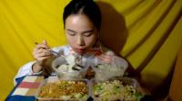 101爱吃饭的妹子 大馄饨+小馄饨+炒米线+牛肉蛋炒饭+杂粮煎饼早饭 中国吃播~
