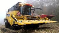 大雾天CX 860收割机工作, 玉米收多少坏多少!
