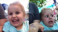3岁小女孩第一次坐过山车, 喜悦的表情瞬间变惊恐