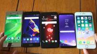 HTC U11vs三星S8vs索尼XZvs一加5vs苹果7 Plus速度跑分测试!