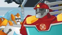 变形金刚救援机器人第35期:伐木场战役 更换警车机器人 汽车人玩具