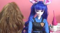 精灵梦叶罗丽娃娃 陈思思兔子装扮换上棕色小卷发做造型 叶罗丽仙子玩具试玩