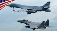 美军B-1B轰炸机和韩军F-15K战斗机-在韩国低空编队飞行