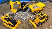 挖掘车推土机自卸卡车在工地的一天 彩虹玩具屋