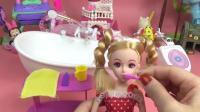 《芭比娃娃早教: 乐吉儿洗漱吃早餐》芭比公主益智视频 女孩早教 芭比罗丽屋