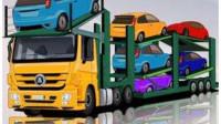 模拟挖掘机工作视频 工程车卡通动画 汽车总动员动画片中文版 大卡车运小汽车2