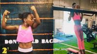 9岁稚嫩的女孩散发着恐怖的肌肉力量