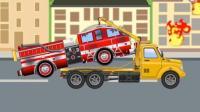 儿童工程车视频动漫 土方车和小粉红汽车偷果烧烤造成火灾, 消防车吊车 垃圾清理车救援