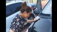 美女给大哥的长城SUV汽车做清洗, 司机反复要求要擦干净透亮