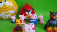 小猪佩奇与比得兔一起玩愤怒的小鸟玩具,公主恋人 绿豆蛙