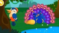 宝宝巴士 森林动物啄木鸟捉害虫、孔雀开屏、松鼠吃坚果、老虎、变色龙变色保护自己