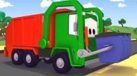 汽车总动员动漫 汽车城的巡逻车 拖车汤姆修理救护车安珀和垃圾清理车