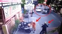监控拍下司机生前最后2秒, 这样骑摩托车不出事才怪!