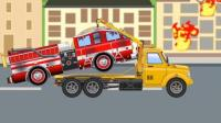 汽车总动员动漫  警车追捕超速车掉进大泥坑 大吊车吊货物砸伤小汽车 消防车救火被炸伤