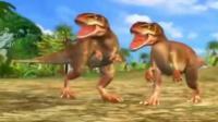 侏罗纪恐龙公园 小霸王龙成长记 霸王龙战胜三角龙 肿头龙与霸王龙决斗, 肿头龙反败为胜
