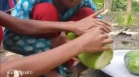 印度女孩给十来个弟妹们做饭吃, 木瓜炖鱼大米饭, 小小年纪不容易