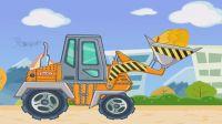 汽车赛车总动员交通工具 挖掘机工程车视频22 吊车推土机挖机 变形恐龙机器人组装