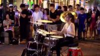 台湾美女架子鼓手陈曼青街头演奏《Sexy love 》太帅啦