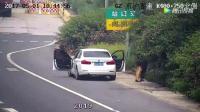 小车上高速之前突然停在路边, 监控拍下不耻一幕!