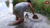 柬埔寨美女致富全靠勤, 每天都去河边捕鱼卖钱, 村里人看了都说好!