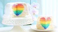 【喵博搬运】【食用系列】切开有惊喜!藏有彩虹爱心的千层蛋糕 \《•ㅂ•》/♥