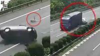 轿车高速追尾货车 13岁女儿甩出车外