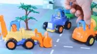 宝宝认识工程车 挖掘机装载机拖拉机自卸车和混凝土搅拌机 955