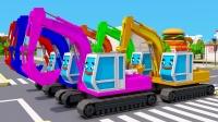挖土机和卡车一起玩不同形状的物体学习形状 3D动画早教