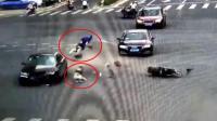 死神来了, 母女骑电动车闯红灯被撞飞, 货车转弯侧翻压扁轿车