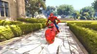 趣味早教: 蜘蛛侠 绿巨人 变形金刚驾驶摩托车横冲直撞