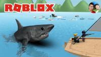 Roblox39 鲨鱼咬人 要想不被吃掉开船技术要好! 小宝趣玩虚拟世界