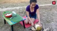 柬埔寨美女在野外烹制椰子鸡蛋, 最后看起来像黑暗料理, 但是美女吃的津津有味
