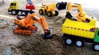 挖掘机视频表演大全57挖土机玩具视频 汽车总动员 赛车总动变形警车珀利消工程车35