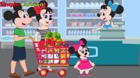米老鼠和爸爸妈妈一起逛超市, 被丢在超市里, 哇哇大哭