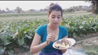 柬埔寨长腿性感美女, 户外做肉丸子, 看她是怎么做的